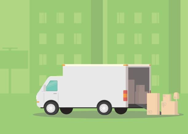 ilustrações, clipart, desenhos animados e ícones de caminhão de mudanças e caixas de papelão na rua. mudar de casa. empresa de transportes. ilustração - casa nova