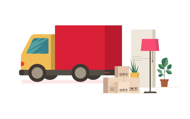 moving truck and moving boxes outdoors. removal - przeprowadzka stock illustrations