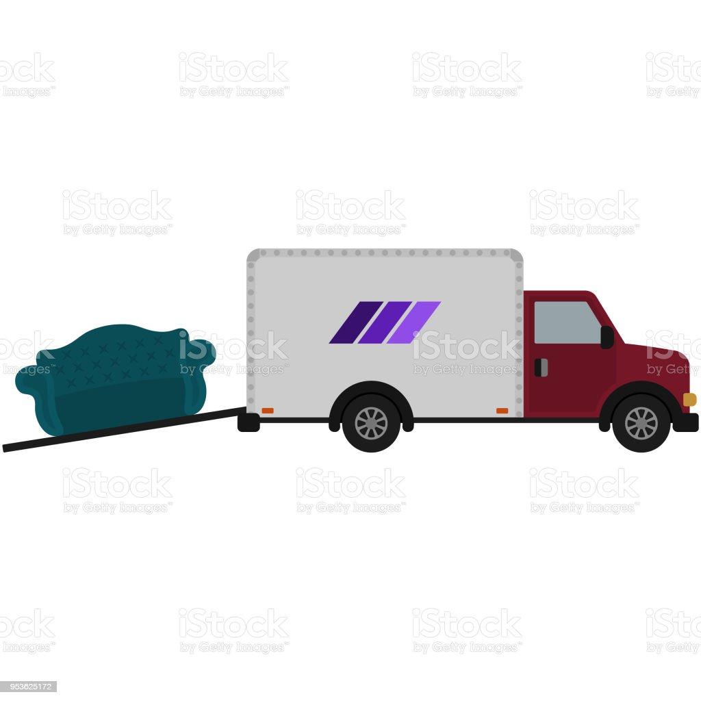Camión de mudanza y la ilustración de sofá - ilustración de arte vectorial