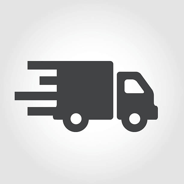 moving truck icon - iconic series - delivery van stock illustrations, clip art, cartoons, & icons