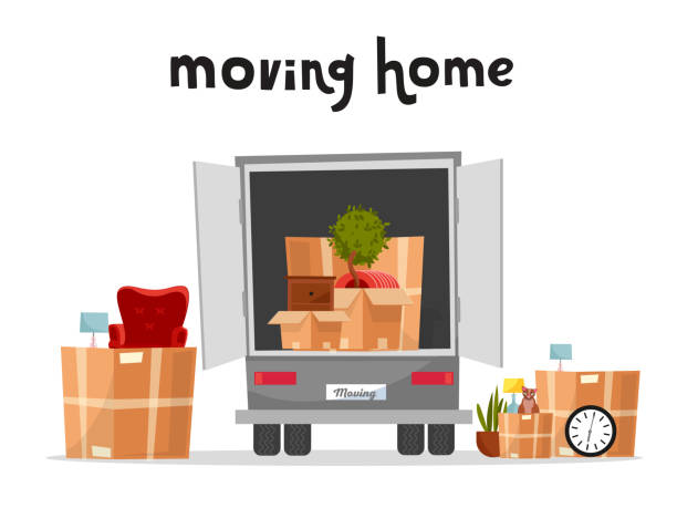 moving truck with boxes. back side of the loading truck. cardboard boxes inside and outside the vehicle.packed interior furniture and cat. lettering moving home qoute.vector cartoon style illustration - new home stock illustrations