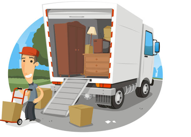 moving truck worker - new home stock illustrations