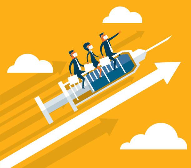 ilustraciones, imágenes clip art, dibujos animados e iconos de stock de moving up - vacuna - covid 19 vaccine