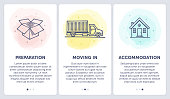 Set of doodle vector illustrations of moving a house in three steps.