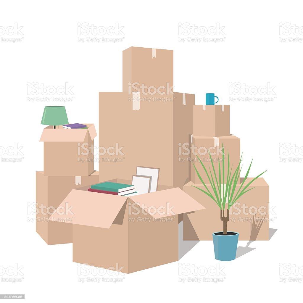 移動ボックスます。にあるボックスをクリックします。トランスポート会社 ベクターアートイラスト