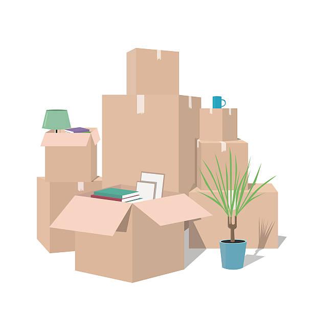 移動ボックスます。にあるボックスをクリックします。トランスポート会社 - 新居点のイラスト素材/クリップアート素材/マンガ素材/アイコン素材