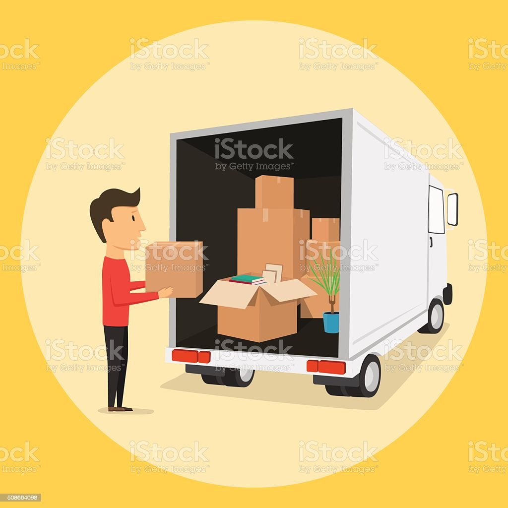 Moving with boxes. Things in box. Transport company vector art illustration
