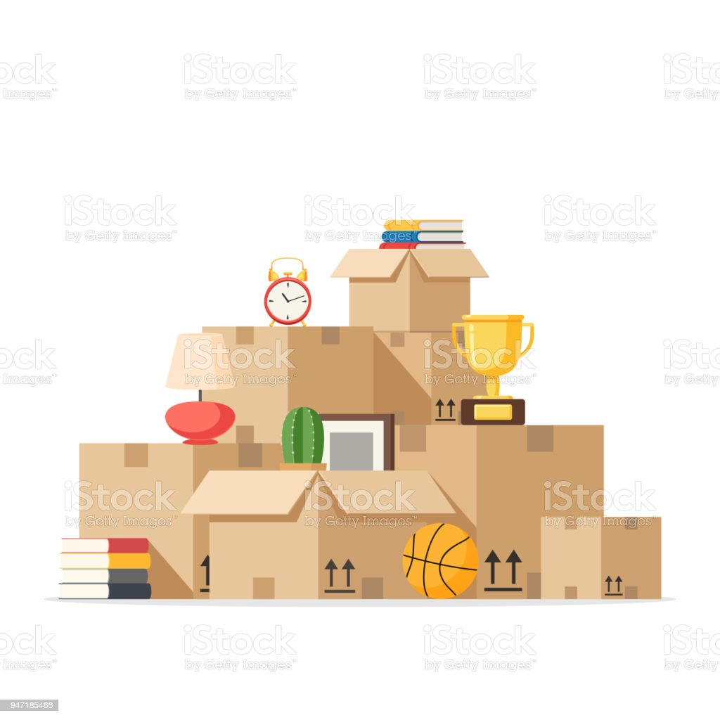 Moving with boxes to new home vector art illustration