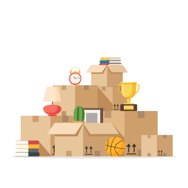 moving with boxes to new home - boxes stock illustrations, clip art, cartoons, & icons