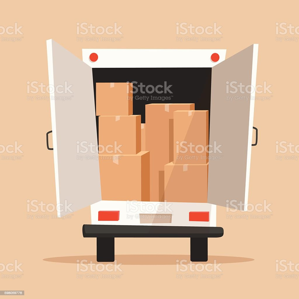 Moving with boxes. Transport company. Cartoon vector illustration vector art illustration
