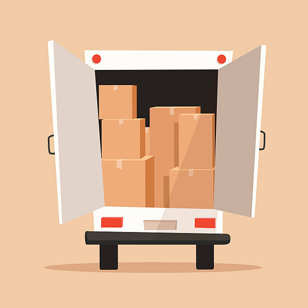 moving with boxes. transport company. cartoon vector illustration - umzugskartons stock-grafiken, -clipart, -cartoons und -symbole