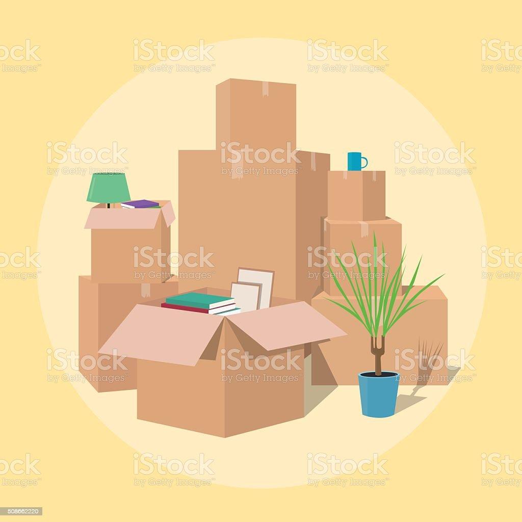 En Movimiento Con Cajas Transporte Empresa - Arte vectorial de stock ...