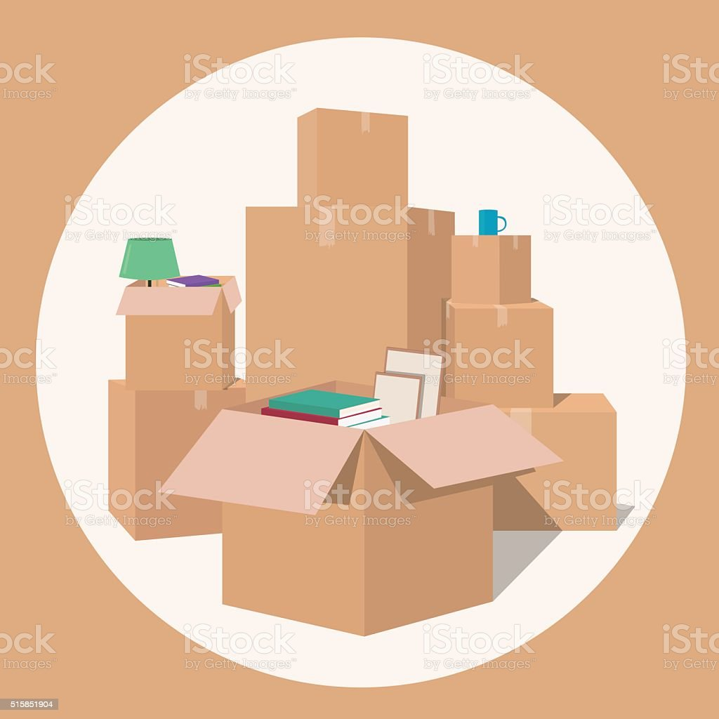 Moving with boxes. Transport company vector art illustration
