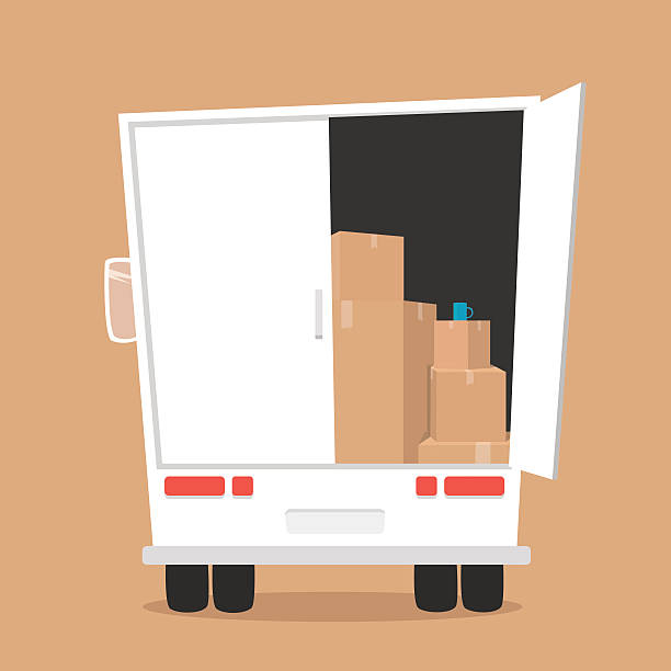 Moving with boxes. Transport company Moving with boxes. Boxes with things. Transport company. Open box. Moving service. Moving van. Moving truck vehicle door stock illustrations