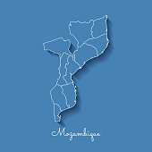 Mozambique region map: blue with white outline and shadow on blue background.