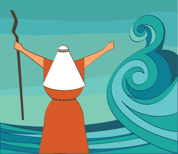 mozes splitting the red sea and ordering let my people go out of egypt. vector and illustration - passover stock illustrations, clip art, cartoons, & icons