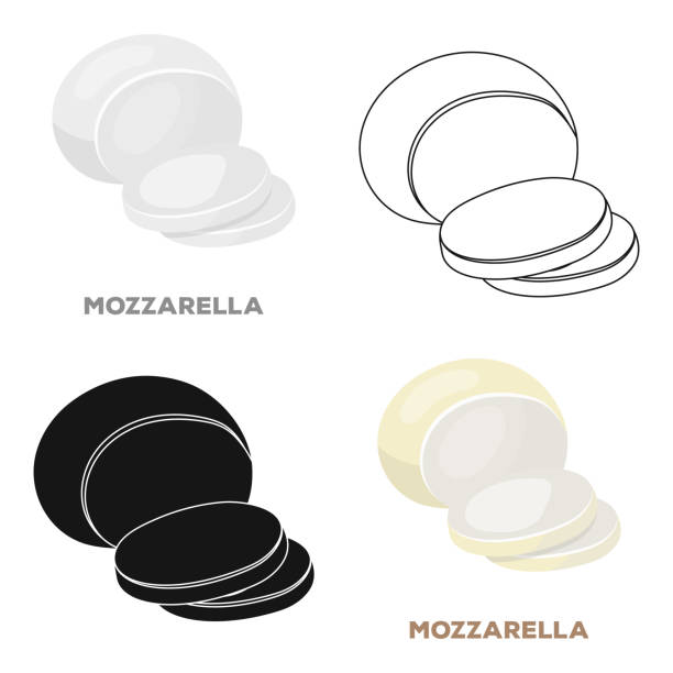 Mozzarella.Different kinds of cheese single icon in cartoon style vector symbol stock illustration web. Mozzarella.Different kinds of cheese single icon in cartoon style vector symbol stock illustration mozzarella stock illustrations