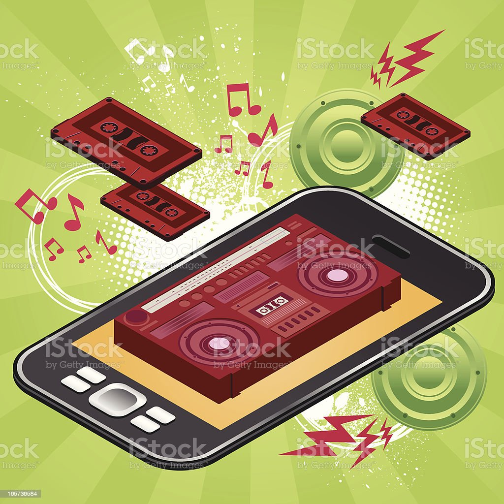 Mp3 next generation phone royalty-free mp3 next generation phone stock vector art & more images of 1980-1989