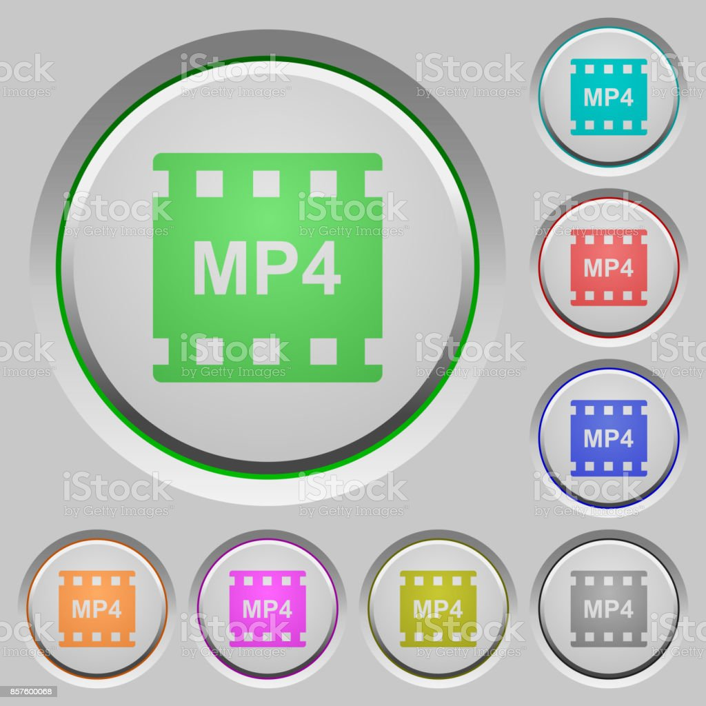 mp4 movie format push buttons vector art illustration