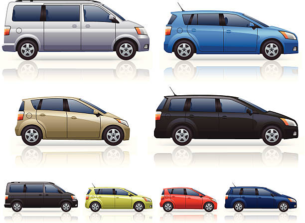 MPVs Modern MPV (people carrier) car icons. Includes 4 generically styled family cars with a colour variation of each.  mini van stock illustrations