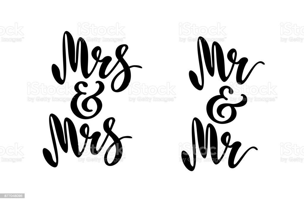 herr und frau mr und mrs gay hochzeit worte pinselstiftschriftzug design f r einladung banner. Black Bedroom Furniture Sets. Home Design Ideas