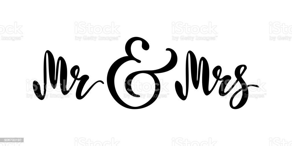 Herr Und Frau Brush Penschriftzug Hochzeitwörter Braut Und Bräutigam ...