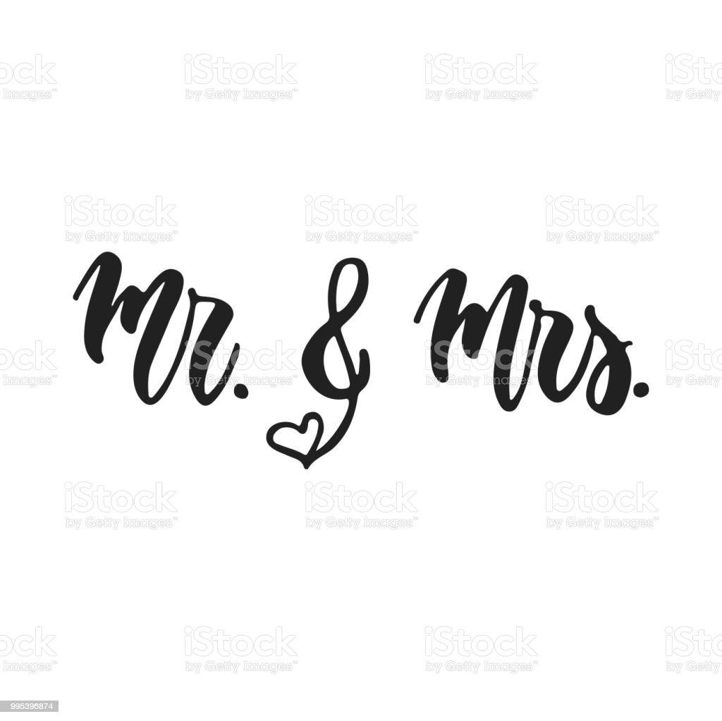 ilustraci n de sr y sra mano rom ntica boda dibujado letras frase aislada sobre fondo blanco. Black Bedroom Furniture Sets. Home Design Ideas