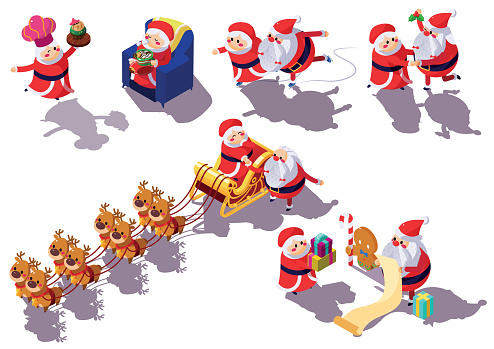 Mr and Mrs Santa Claus in different action and pose