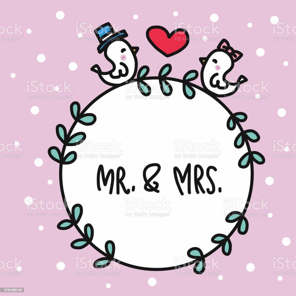 氏と夫人の葉の花輪カップル語鳥漫画 - ひらめきのベクターアート素材や