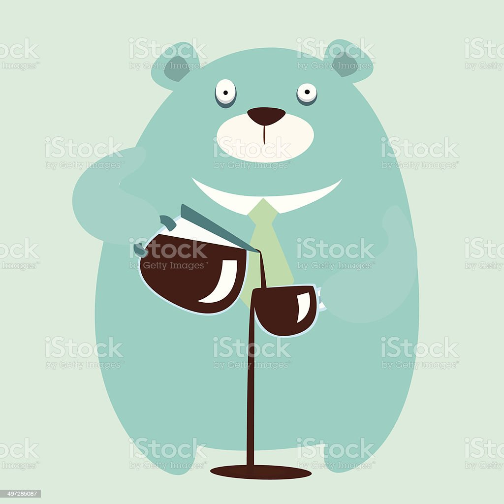 Mr Bear Drinks Coffee Too Much Stock Illustration Download Image Now Istock
