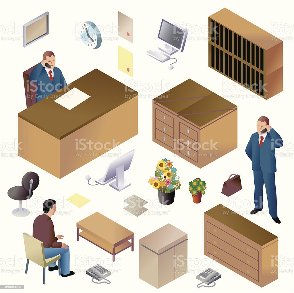 Mr. Big + Office Furniture ISO Royalty Free Stock Vector Art