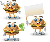 A burger mascot in 3 poses. Linear and radial gradients were used. Arms and legs can be easily removed if wanted.