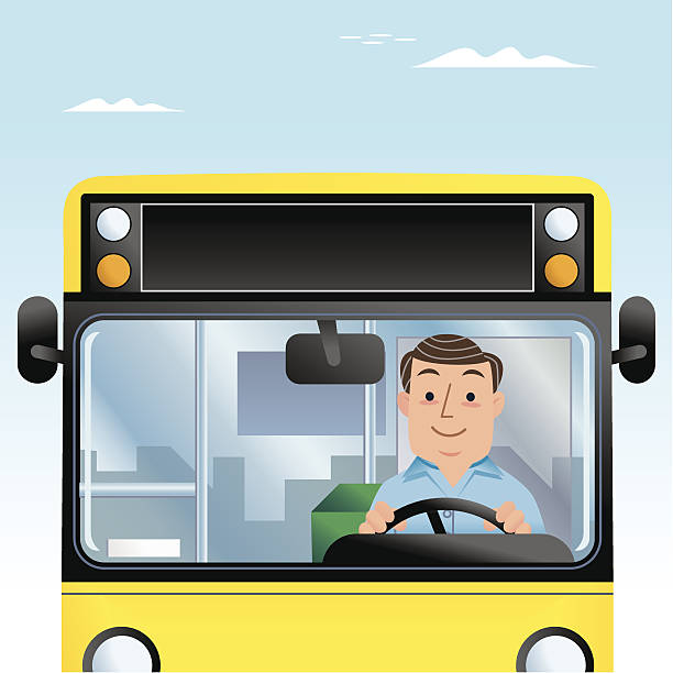Mr Bus Driver Man vector art illustration