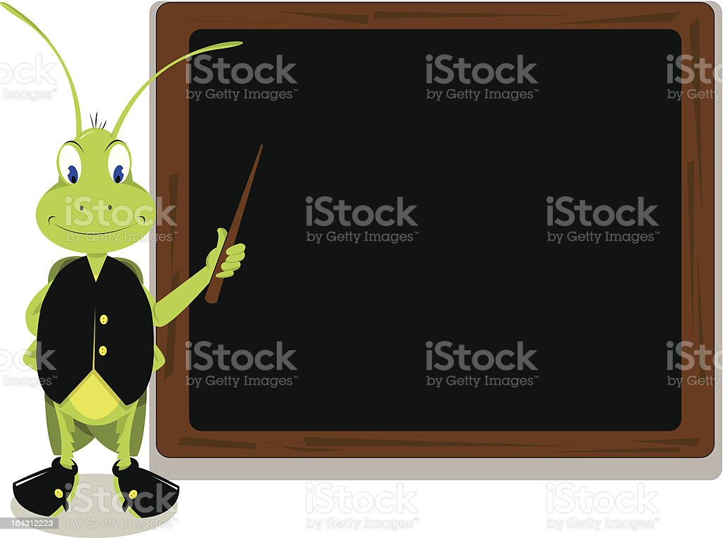 Mr. Cricket and a blackboard royalty-free mr cricket and a blackboard stock vector art & more images of animal