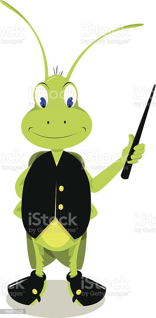 Mr. Cricket Pointing vector art illustration