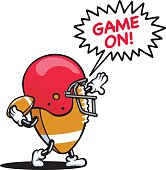 A vector illustration of a gridiron ball character.