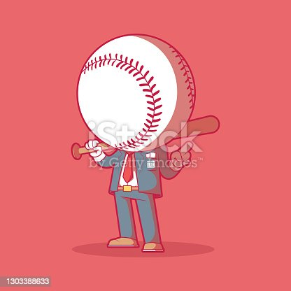 istock Mr. Home Run vector illustration. 1303388633