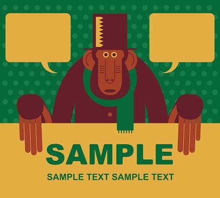Mr Monkey (Baboon, Chimpanzee, Ape) holding blank sign
