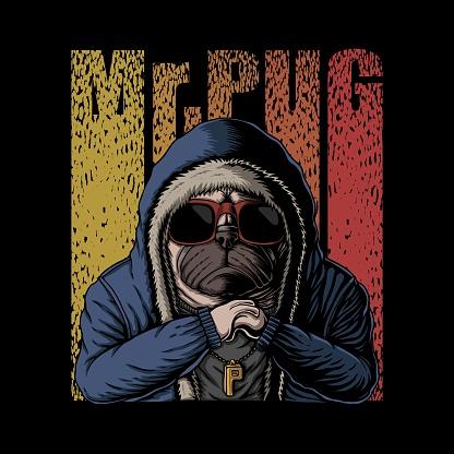 Mr pug dog vector illustration