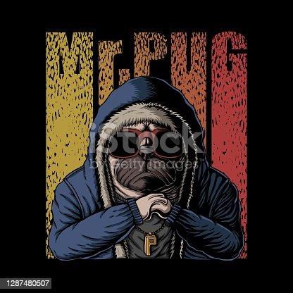 istock Mr pug dog vector illustration 1287480507