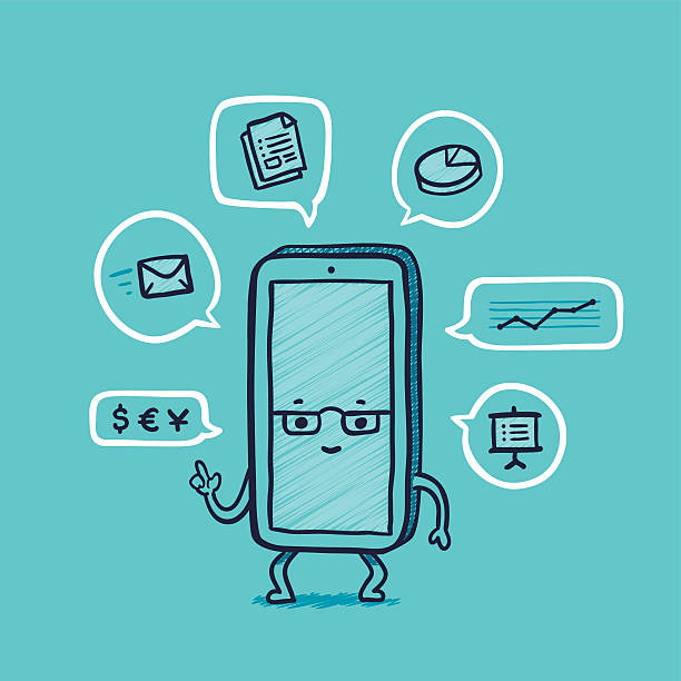 Herr Smartphone zu arbeiten – Vektorgrafik