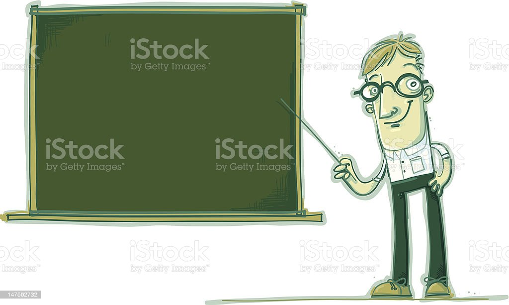 Mr. Smartypants is teaching a lesson royalty-free stock vector art