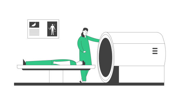 Mri Scanner in Hospital. Magnetic Resonance Imaging Digital Technology in Medicine Diagnostic Concept. Medical Health Care, Doctor and Patient in Clinic. Cartoon Flat Vector Illustration Line Art Mri Scanner in Hospital. Magnetic Resonance Imaging Digital Technology in Medicine Diagnostic Concept. Medical Health Care, Doctor and Patient in Clinic. Cartoon Flat Vector Illustration Line Art scientific imaging technique stock illustrations