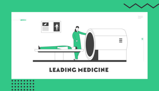 Mri Scanner in Hospital Website Landing Page. Magnetic Resonance Imaging Digital Technology in Medicine Diagnostic. Doctor and Patient in Clinic Web Page Banner. Cartoon Flat Vector Illustration Mri Scanner in Hospital Website Landing Page. Magnetic Resonance Imaging Digital Technology in Medicine Diagnostic. Doctor and Patient in Clinic Web Page Banner. Cartoon Flat Vector Illustration scientific imaging technique stock illustrations