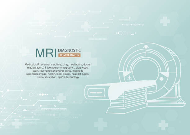 mri Medical diagnostic. MRI scanner machine technology and diagnostics , medical Health care Vector illustration. radiology stock illustrations