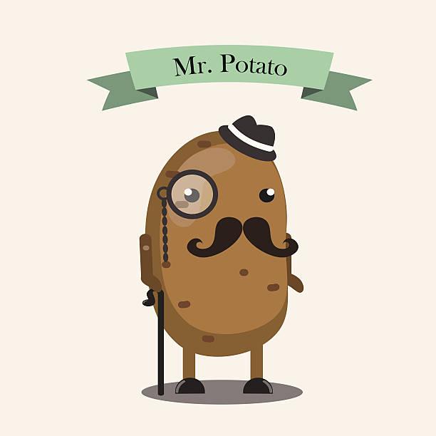 mr.potato charakter - kartoffeln stock-grafiken, -clipart, -cartoons und -symbole