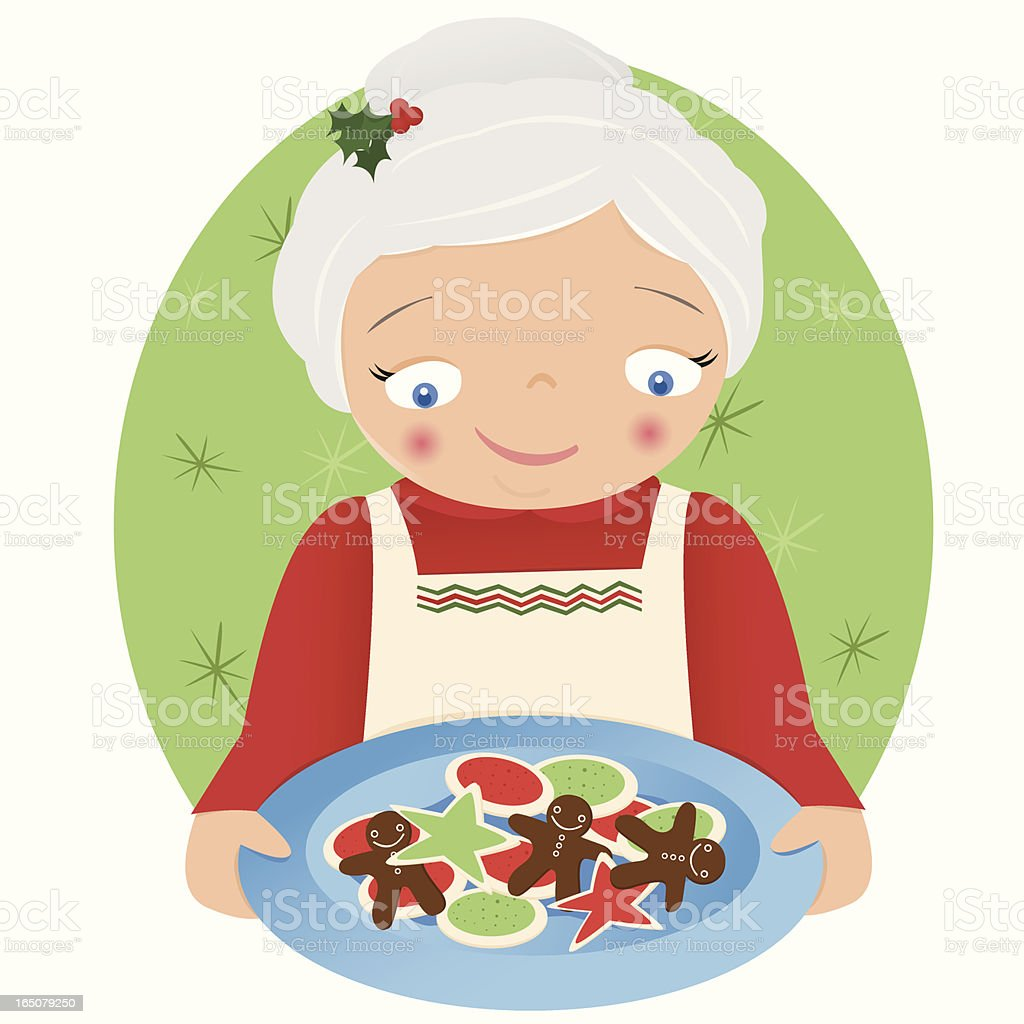 Mrs. Claus and Christmas Cookies royalty-free stock vector art