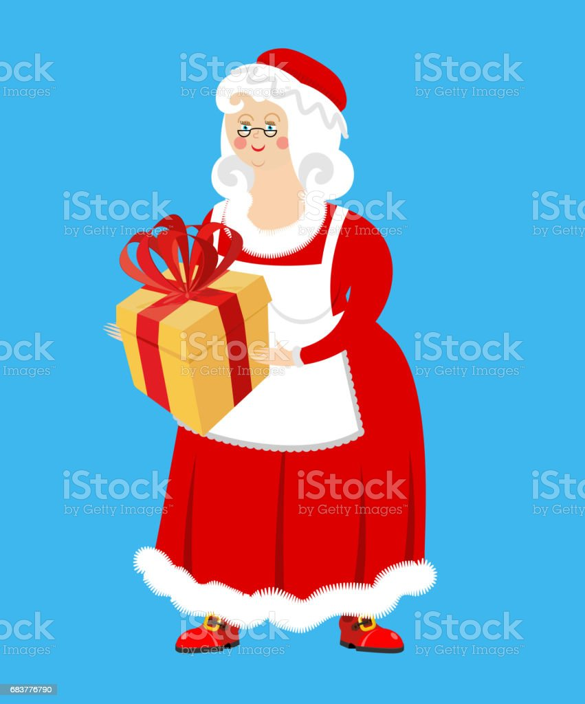 Mrs Claus And Gift Wife Of Santa Claus And Box Christmas Woman In ...
