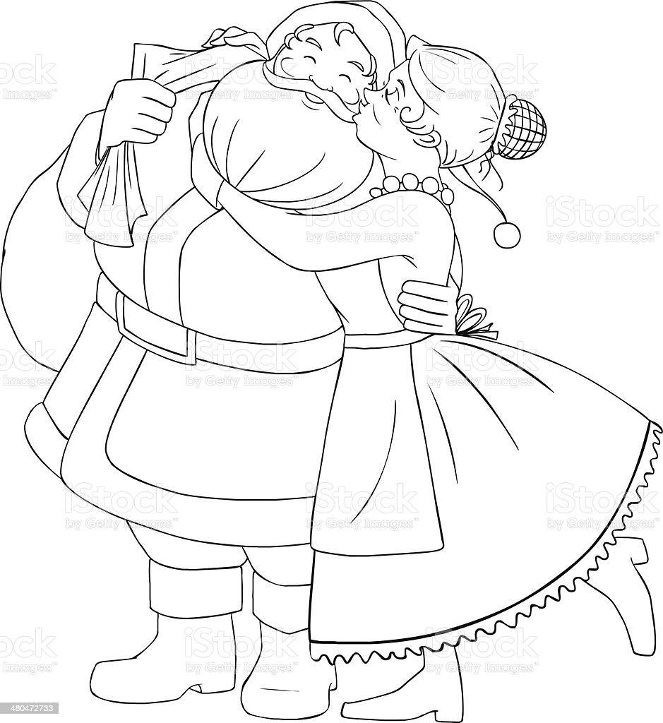 Ilustración De Mamá Noel Besos Y Abrazos Santa En Mejilla Página