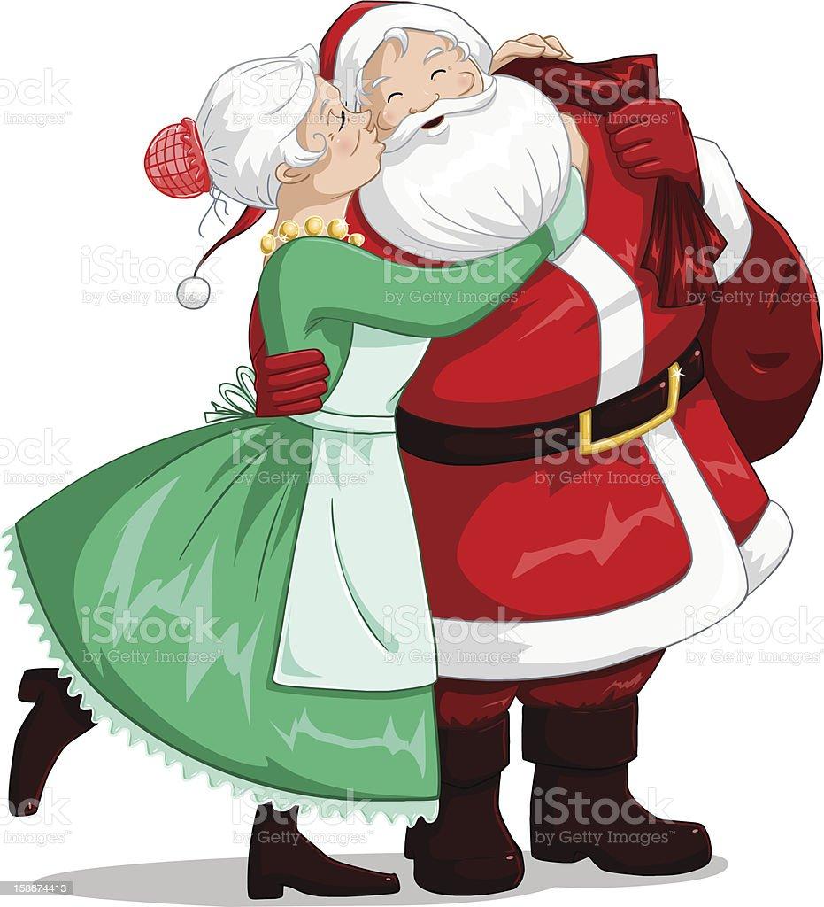 Mrs Claus Kisses Santa On Cheek And Hugs vector art illustration
